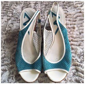 Anne Klein Sport Blue Slip On Wedge Sandals